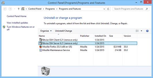 Uninstalling Bitvise SSH Server or Client | Bitvise